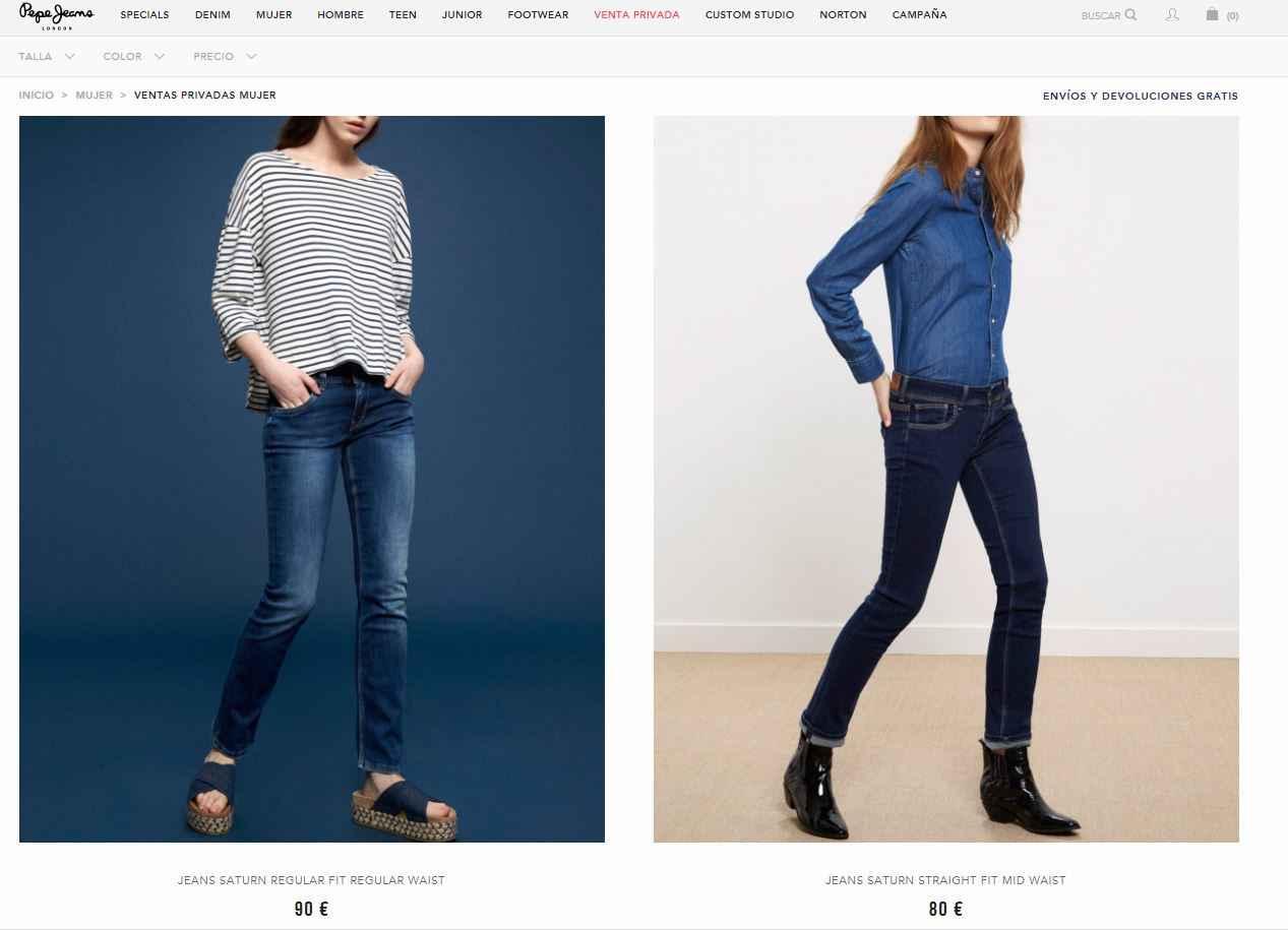 pantalones mujer pepe jeans baratos