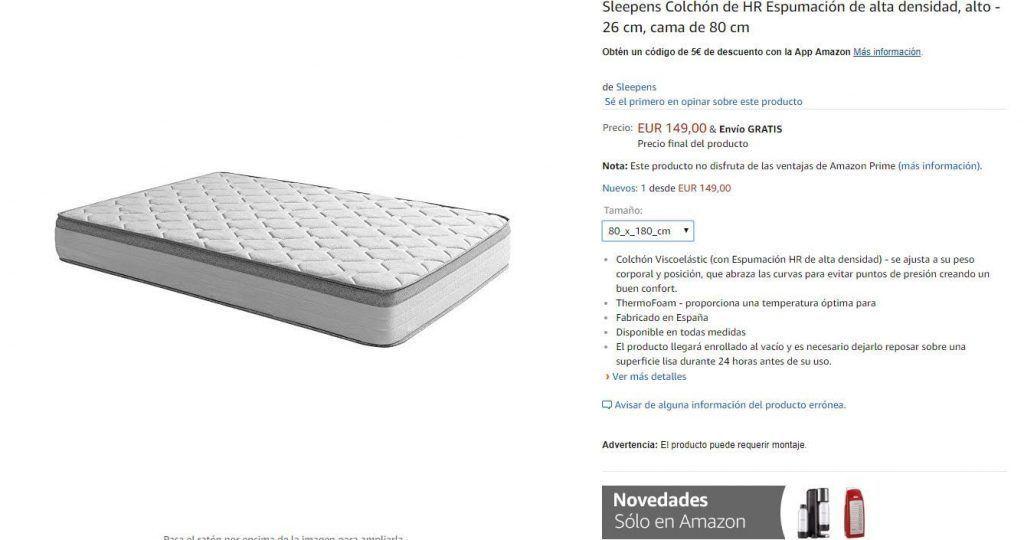 colchón sleepens baratos en amazon